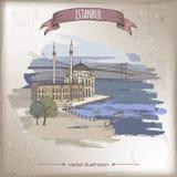 Ilustração do curso da cor do vintage com mesquita de Ortakoy e ponte sobre Bosphorus em Istambul, Turquia Esboço desenhado mão ilustração do vetor