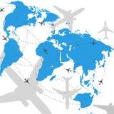 Ilustração do curso do vôo do mapa de mundo Imagem de Stock