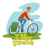 Ilustração do curso do vetor com natureza e um caráter do turista que monta uma bicicleta ilustração royalty free