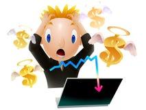Ilustração do dólar da perda do homem de negócio Fotos de Stock Royalty Free