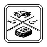 Ilustração do desenho do contorno com alimento dos peixes e do arroz com elementos das varas, dos peixes e do caranguejo para o l ilustração royalty free