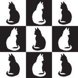 Ilustração do desenho do contorno de quadrados e de figuras preto e branco isolados de silhuetas preto e branco dos gatos de duas ilustração stock