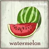 Ilustração do desenho da mão da melancia Fundo do esboço do fruto fresco Foto de Stock Royalty Free