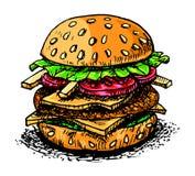 Ilustração do desenho da mão do vetor do Hamburger Fotografia de Stock