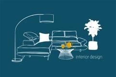 Ilustração do design de interiores do vetor Mobília da sala de visitas decoração na moda da casa da tendência ilustração stock