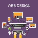 ilustração do design web Projeto liso Ilustração da bandeira Conceitos lisos para o desenhista da Web, desenvolvimento da ilustra Fotografia de Stock