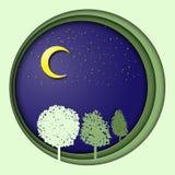 Ilustração do Dia da Terra 3d com árvores, na noite com lua e estrelas Simbolismo da ecologia, sistema do eco, planeta, vida Fotos de Stock Royalty Free