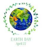 Ilustração do Dia da Terra Planeta da terra no círculo verde do galho Ilustração tirada mão da aguarela Fotos de Stock Royalty Free
