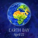 Ilustração do Dia da Terra Planeta da terra no espaço Ilustração tirada mão da aguarela Imagem de Stock Royalty Free