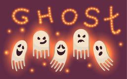 Ilustração do Dia das Bruxas do vetor com fantasmas Sparkles do amarelo Texto de brilho Partido de Ghost Imagem de Stock