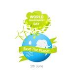 Ilustração do dia de ambiente de mundo Terra verde de Eco Imagens de Stock Royalty Free