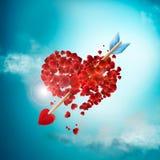 Ilustração do dia de Valentim com seta e corações Imagens de Stock Royalty Free