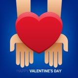 Ilustração do dia de Valentim Mãos que guardam o sinal do coração Fotografia de Stock Royalty Free