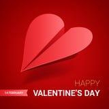 Ilustração do dia de Valentim Plano de papel vermelho dado forma do coração Fotografia de Stock