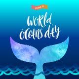 Ilustração do dia dos oceanos do mundo - escove a caligrafia e a cauda de uma baleia do mergulho acima das ondas de oceano ilustração royalty free