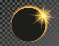 Ilustração do eclipse solar no fundo transparente Imagem de Stock