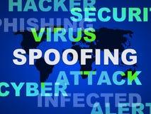 Ilustração do embuste do crime do Cyber do ataque da falsificação 2d ilustração stock