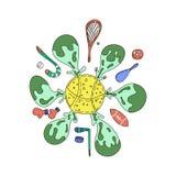 Ilustração do equipamento de esporte do vetor Artigos dos exerc?cios dos esportes Raquete e bast?o para a ilustra??o do jogo do e ilustração stock
