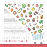 Ilustração do esboço da loja de mantimento do trole do alimento da loja Fotografia de Stock