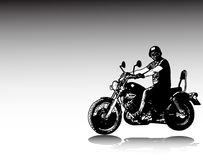 Ilustração do esboço da motocicleta do vintage da equitação do motociclista Fotografia de Stock