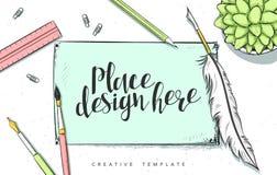 Ilustração do esboço do conceito de projeto do molde para o mercado Bandeiras da Web dos conceitos Fotos de Stock
