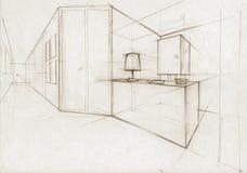Ilustração do esboço para um salão interior ilustração stock