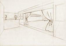 Ilustração do esboço para um salão interior ilustração royalty free