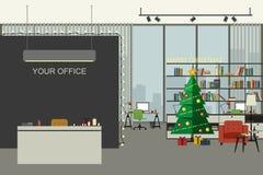 Ilustração do escritório do Natal no estilo liso Foto de Stock Royalty Free