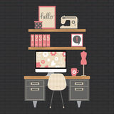 Ilustração do espaço de trabalho moderno do escritório domiciliário Foto de Stock