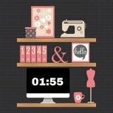 Ilustração do espaço de trabalho moderno do escritório domiciliário Foto de Stock Royalty Free