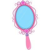 Ilustração do espelho de mão do rosa do vintage Fotos de Stock