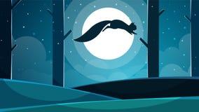 Ilustração do esquilo Paisagem de papel dos desenhos animados ilustração royalty free