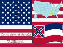 Ilustração do estado de Mississippi Fotos de Stock Royalty Free