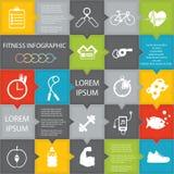 Ilustração do estilo de vida da saúde infographic no plano projetado Foto de Stock Royalty Free