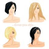 Ilustração do estilo do corte do cabelo Imagens de Stock Royalty Free