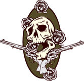 Ilustração do estilo do tatuagem das rosas e das pistolas dos injetores Imagens de Stock