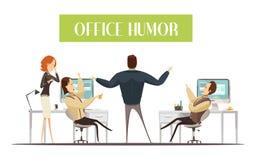 Ilustração do estilo dos desenhos animados do humor do escritório ilustração do vetor