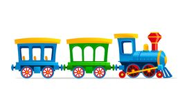 Ilustração do estilo dos desenhos animados do trem do brinquedo ilustração do vetor