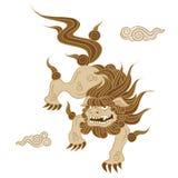Ilustração do estilo tradicional do cão do leão do guardião Fotos de Stock