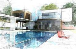 Ilustração do exterior da casa ideal ilustração stock