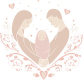 Ilustração do famílias felizes sob a forma de ilustração stock