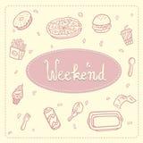 Ilustração do fast food: pizza, anéis de espuma, Hamburger, fritadas, café, galinha, ilustração royalty free
