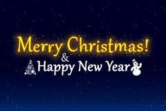 Ilustração do Feliz Natal e do ano novo feliz Fotos de Stock Royalty Free