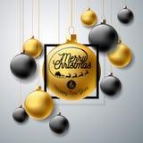 Ilustração do Feliz Natal do vetor com elementos da bola de vidro e da tipografia do ouro no fundo claro Projeto do feriado para Imagens de Stock