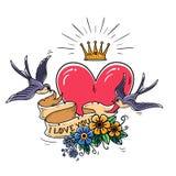 A ilustração do feriado com coração cor-de-rosa e o ouro coroam As andorinhas voam e mantêm a fita decorada com flores Eu te amo ilustração do vetor