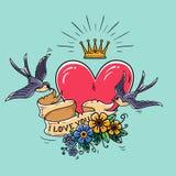 A ilustração do feriado com coração vermelho e o ouro coroam As andorinhas voam e mantêm a fita decorada com flores Rosa vermelha ilustração stock