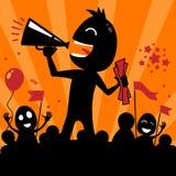 Ilustração do feriado com um orador do homem com um megafone Ilustração Stock