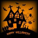 Ilustração do feriado no tema de Dia das Bruxas Desejos para Dia das Bruxas feliz Truque ou deleite Imagem de Stock