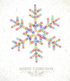 Ilustração do floco de neve da aquarela do Feliz Natal Fotos de Stock Royalty Free