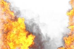Ilustração do fogo 3D do quadro místico impetuoso do inferno isolado no fundo branco - a parte superior e a parte inferior estão  ilustração royalty free